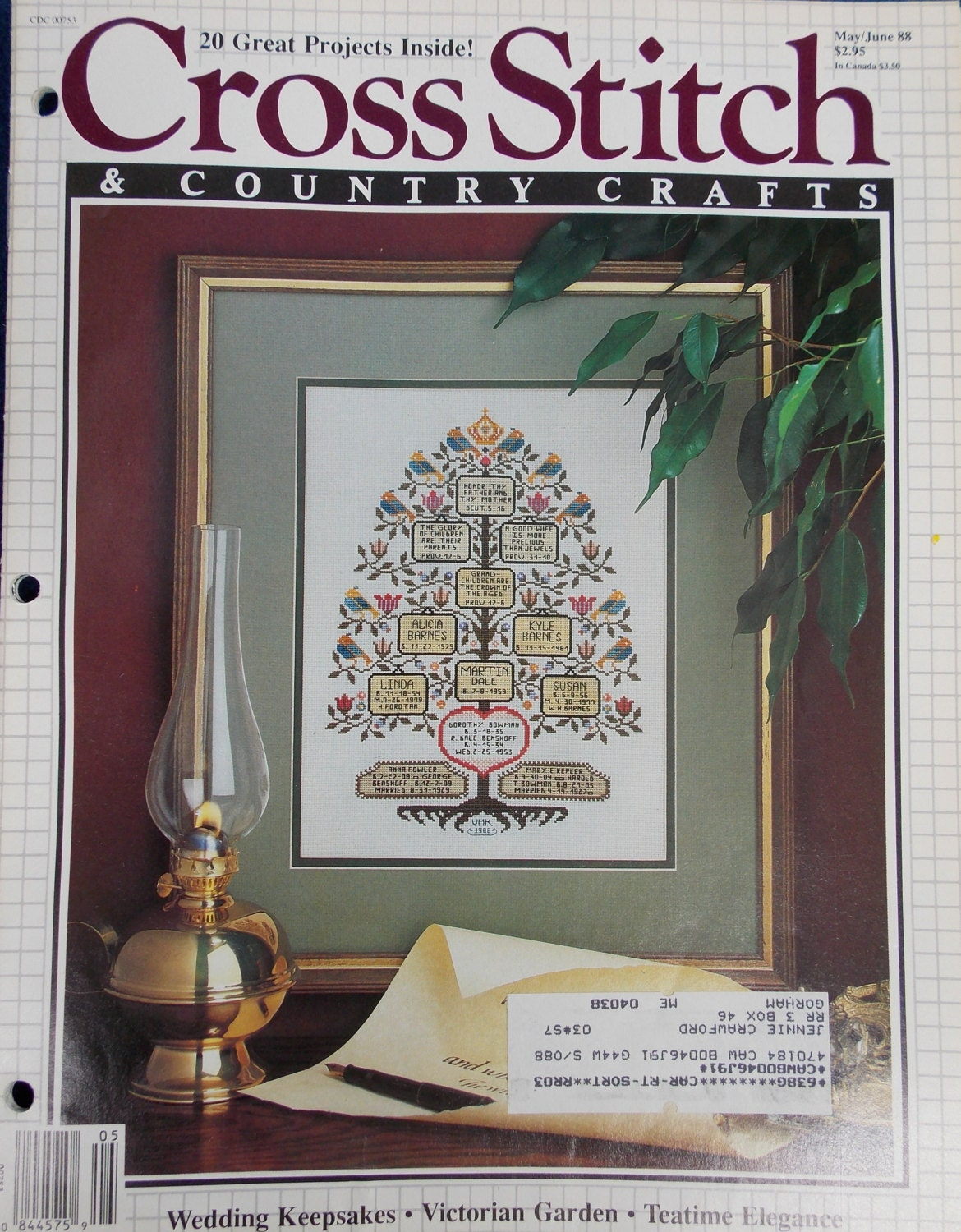 Cross stitch and country crafts magazine back issues - 1988 Cross Stitch And Country Crafts Magazine 6 Vintage Issues Sold By Grammiejennie 10 99