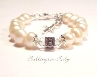 Baby Bracelet, Baby Pearl Bracelet, Freshwater Pearl Bracelet, Christening Bracelet, Baptism, Initial Bracelet, First Communion (B40FW)