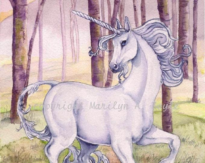 PRINT-  LEGEND of the UNICORN on 90 lb watercolor paper; art, illustration, fantasy, woodland, original, watercolor, reproduction