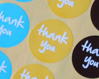 Round stickers, THANK YOU, 5 sheets, brown/yellow/blue, 3.5 cm, label, gift sticker