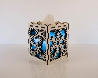 Laser cut wood tissue box cover with snowflake design
