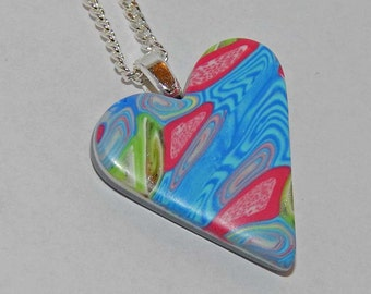 Polymer Clay Heart Necklace Retro Pattern Heart