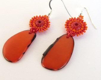 Orange Tagua Nut Earrings - Casual Modern and Lightweight