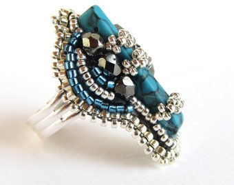 Dramatic and intricate adjustable bead embroidery ring in silver and turquoise
