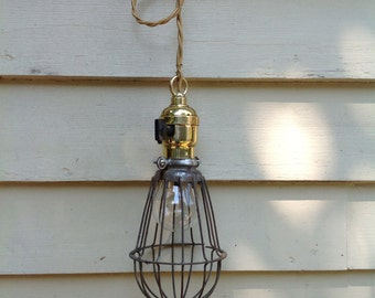 Antique Light Fixture - Industrial Cage Light