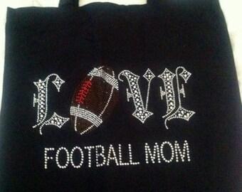 """Blinged """"Football Mom"""" bag"""