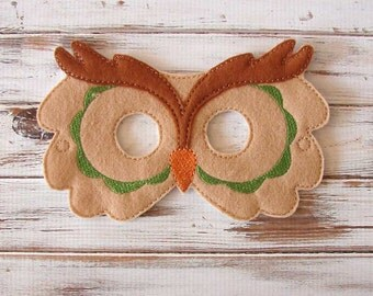 Owl Mask - Felt - Kids Mask - Green - Costume - Dress Up - Halloween