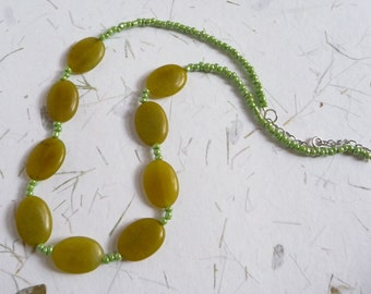 Green Earthy Stone Necklace with Opalescent Seed Beads by PassionInAction