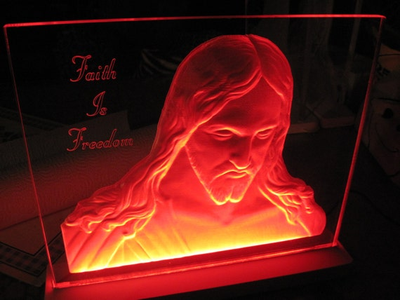 items similar to 3d acrylic edge lit sign jesus bust christian religious plexiglass led. Black Bedroom Furniture Sets. Home Design Ideas