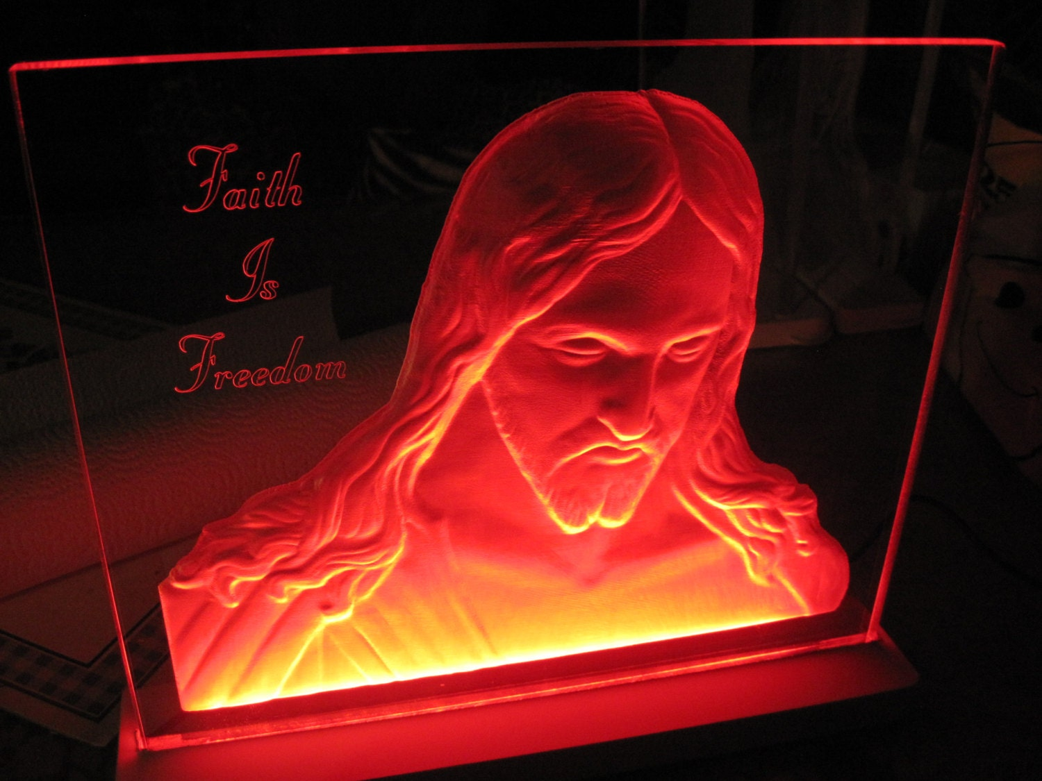 3d acrylic edge lit sign jesus bust christian religious. Black Bedroom Furniture Sets. Home Design Ideas