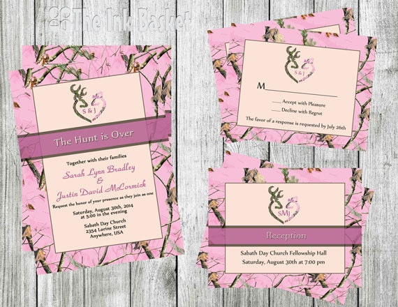 Camouflage Wedding Invitation Kits: The Hunt Is Over Wedding Invitation W/RSVP Or By TheInkBasket