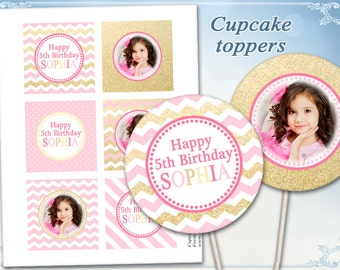 Pink Gold Cupcake toppers Cake toppers Birthday toppers Photo toppers on Printable sheet Chevron Polka dots toppers
