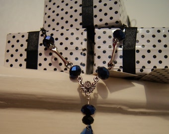 SALE One of a Kind - Sapphire and Bones Drop Pendant Necklace