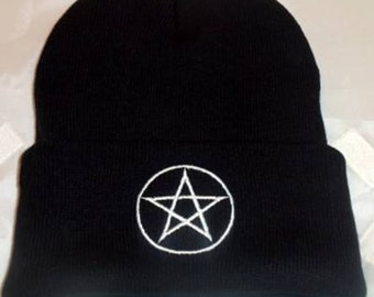 Wicca Beanie Hat White Pentagram Embroidery