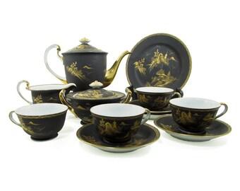 Mt. Fuji Satsuma Tea Coffee Service, by Kutani Japanese Black Porcelain, Gold, Silver Signed, Set Teapot, Cup, Saucer, Plate, Creamer, Sugar