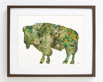 Bison Watercolor Painting - Archival Print 8x10 inches- Animal Art - Moss Green Brown Bison Wall Decor, Housewares Decor, Home Decor