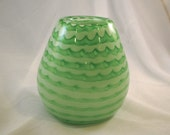 Scalloped Vase - Hand Blown Glass in Pastel and Dark Green - MoltenColor