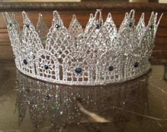 Silver lace glittery king/queen crown with swarovski crystals