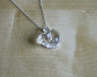 Crystal Heart Necklace, Sterling Silver, Swarovski Crystal