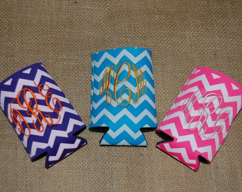 Monogrammed Chevron Coozies