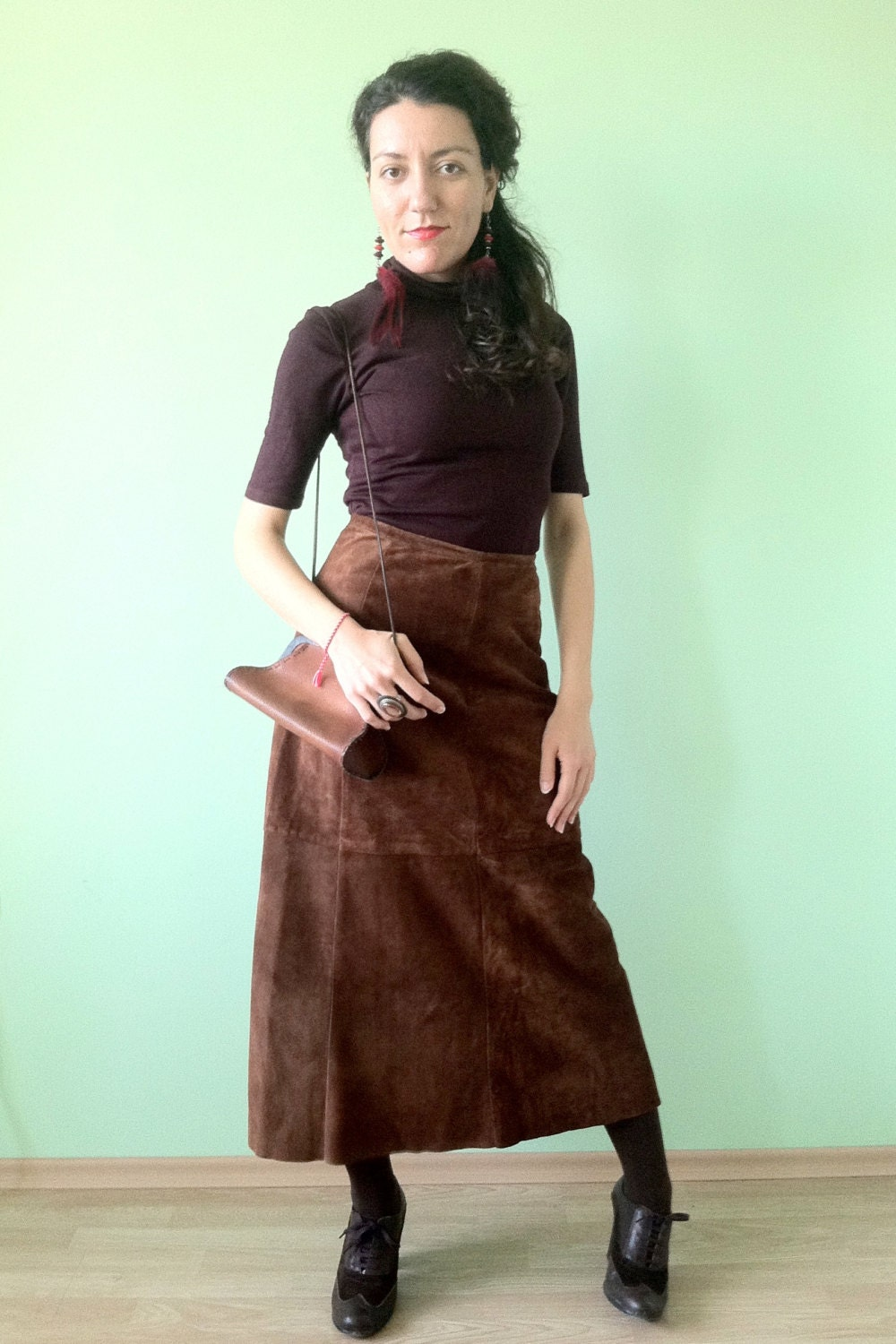 suede leather skirt brown leather skirt hippie maxi skirt