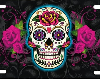 Sugar skull personalized novelty front front license plate custom decorative car tag