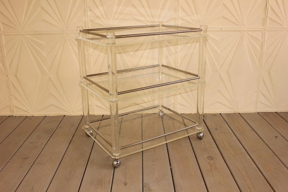 Tubular Lucite Chrome 3 Tier Rolling Bar Cart Tea Table Mid Century Modern 60's 70's Side Retro Serving Acrylic