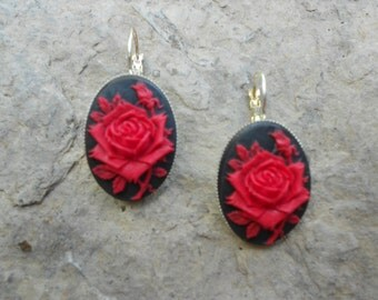 Gorgeous Red Rose (on a black background) Cameo French Earrings!!!  Wonderful Quality!!! Silver Plated!!