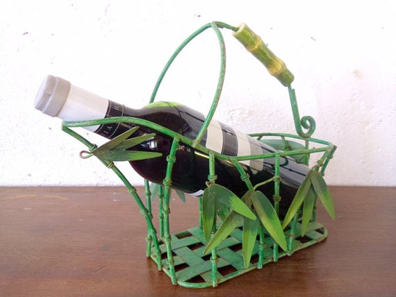 French wire bottle carrier green bamboo look metal wine bottle - Wire wine bottle carrier ...