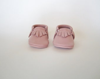 Pale Pink Leather BabyMoccasins