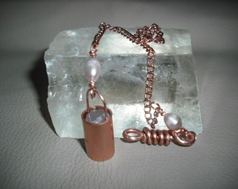 Small Heavy Copper and Selenite Pendulum. Rather Special For the Seer in You