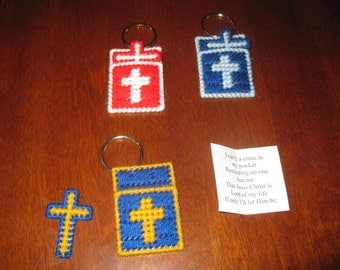 Plastic Canvas Cross In My Pocket Keychain - Design 1