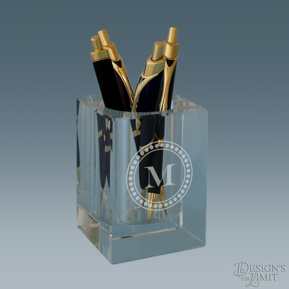 Design 39 S Crystal Pen And Pencil Holder Set With Monogram