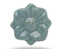 Turquoise Blue Garden Flower Pull, Decorative Ceramic Knob for a Childrens Bedroom Dresser Drawer or Bureau, Little Girls Furniture Accent