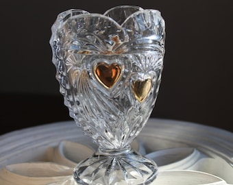 Vintage Cut Crystal Glass Heart Vase, Mid Century