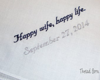 Personalized Handkerchief For Your Groom, Happy Wife Happy Life -15 Words or Less - FREE Gift Box from TBM
