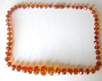 Antique Butter Scotch Amber Bead Necklace