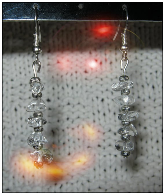 Handmade Silver Hook Earrings with Rock Crystal by IreneDesign2011