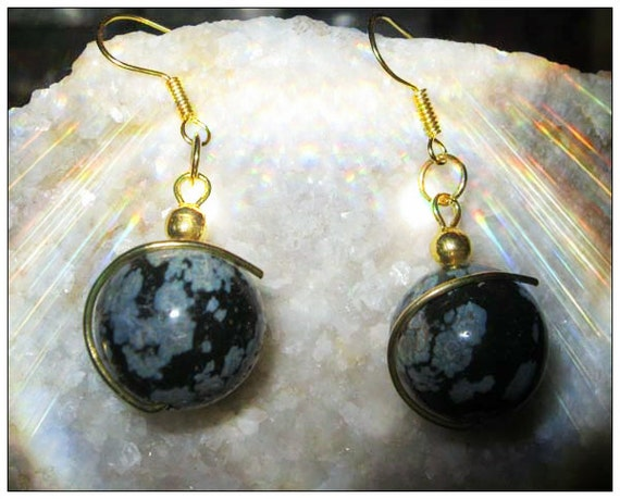 Beautiful Gold Hook Earrings with Snow Obsidian by IreneDesign2011