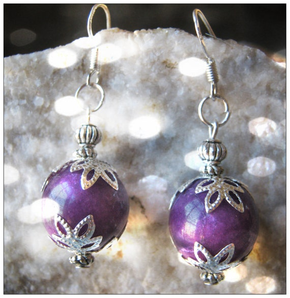 Handmade Silver Earrings with Purple Jade