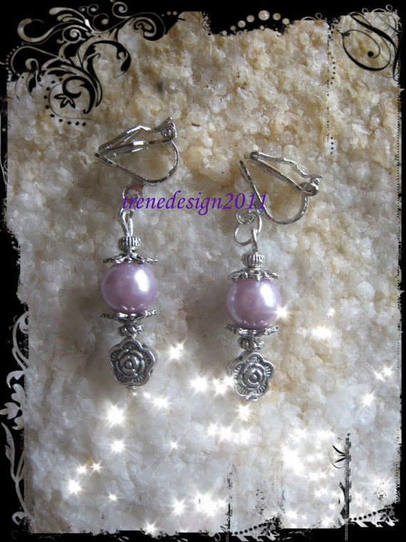 Beautiful Silver Clip-On Earrings with Light Purple Pearl & Rose