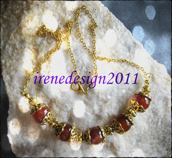 Beautiful Handmade Gold Necklace with Carneol by IreneDesign2011