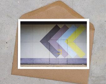 purple arrows industrial postcard