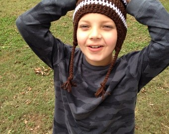 Football Beanie with Earflaps- Children's-Adults