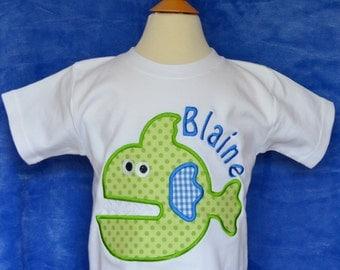 Personalized Piranha Fish Applique Shirt or Onesie Boy or Girl