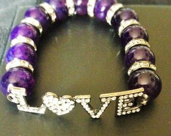 Dragon's vein agate 'LOVE' Bracelet