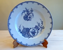 Antique French serving platter (30 cm) Longwy 'Kioto' - 1885 French aesthetic transferware. blue white serving plate