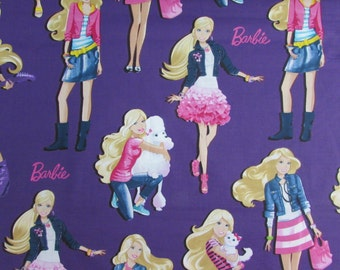 Per yard, Barbie with Deep Purple Background Fabric