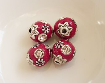 4 x Handmade Indonesia Clay Beads Cherry Red 10mm Round, Clay Beads, Craft Supplies, Beads, UK Seller (OBT5007)