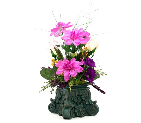 New orleans decor dining table centerpiece silk flower